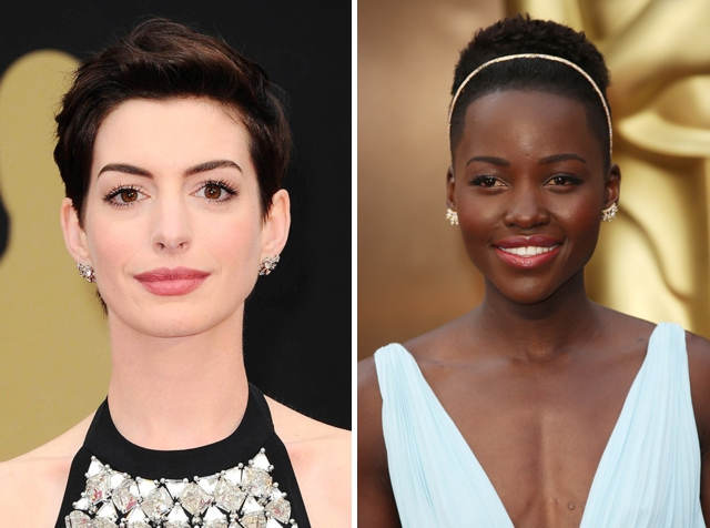 oscars 2014 beauty, anne hathaway, lupita nyongo, eyebrow threading vancouver, celebrity brows